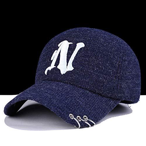 zlhcich Hut Mode Baseball Cap männlich warme Mütze Männer Horn Teufel Ohrenschützer N Ring blau
