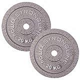 POWRX Set Hantelscheiben | verschiedene Gewichtsvarianten 5-40 kg | Gusseisen Gewichte | Bohrung 30 mm (2 x 20 kg)