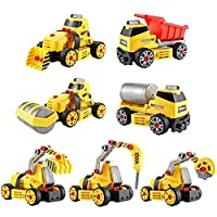 Think Gizmos Take Apart 7 in 1 Construction Set Toy Kit for Boys and Girls - Build your own construction vehicles with lights and sounds - 7 models to make with included electronic drill - TG803