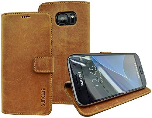 Book-Style Ledertasche Tasche für Samsung Galaxy S7 *ECHT LEDER* Handytasche Case Etui Hülle (Original Suncase) in antik - cognac