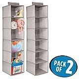 mDesign 2er-Set Babywickeltisch-/Schrank-Organizer zur Aufbewahrung von Kleidung, Handtüchern, Decken, Spielzeug, Windeln – jeweils 6 Regale– Grau/Leinen