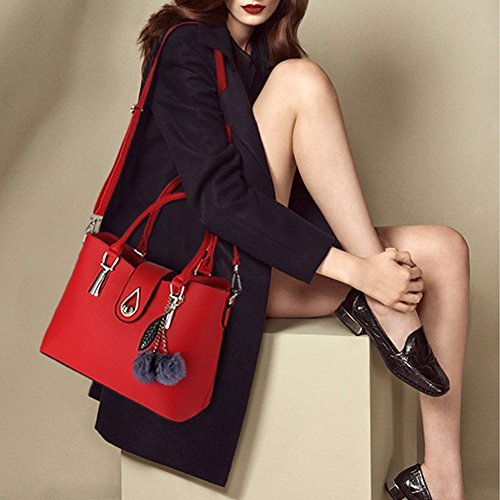Donna Classic Handbag Set Shoulder Crossbody Bag with Pompom 3 set Rose Rose Rosso