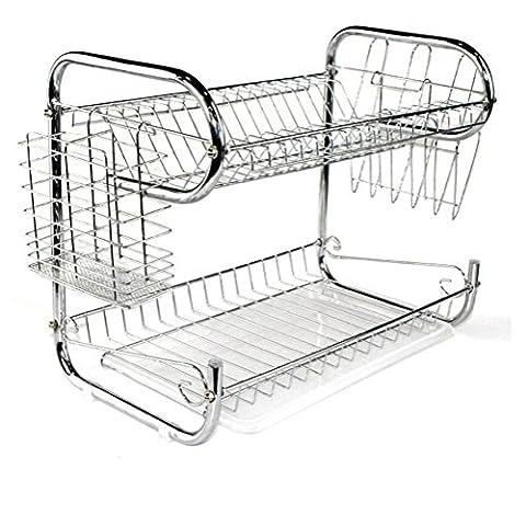 2 scomparti per lavastoviglie scaffali per immagazzinaggio per cucina in acciaio inox rack per drenaggio single shelf + chopsticks cage + chopping board stand (silver 9)