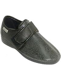 MADE IN SPAIN Zapatilla Mujer Tipo Zapato con Velcro Pala de Licra Muro EN Negro