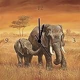 Artland Analoge Wand-Funk-oder Quarz-Uhr Digital-Druck Leinwand auf Holz-Rahmen gespannt mit Motiv A. S. Elefanten Tiere Wildtiere Elefant Malerei Ocker A6ZO