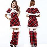 Costumes de Noël Femme Noël Costumes Personnes Âgées Photo Uniforme Cos Bar Costumes de Scène,Rouge,Taille unique