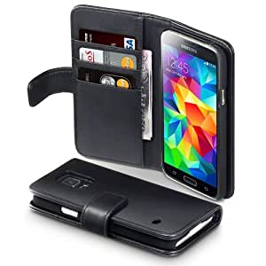 Terrapin Real Leather Wallet Case/Cover/Pouch/Holster with Card Slot and Bill Compartment for Samsung Galaxy S5 - Black