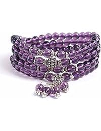 Mes Bijoux Bracelets Pulsera Charms Serpiente Joya Piedra Natural Amatista 6mm Mujer Violeta Flores Céti