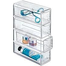mDesign Organizador de maquillaje con cuatro cajones - Práctica caja de maquillaje para esmalte, polvo etc. - La caja para guardar maquillaje perfecta - transparente