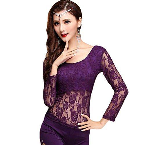 YiJee Mujer Belly Dance Disfraz Tops Danza del Vientre Encaje Blusa Costume Morado L