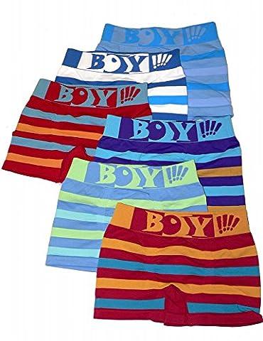 LisaModa 6er Pack Jungen Boxershorts Boy gestreift Größe 128-140