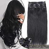 Extension a Clip Cheveux Naturel Noir Maxi Volume - Rajout Cheveux Humain a Clips #1 NOIR FONCE (8 Bandes, 22 Pouces/55cm, 160g)