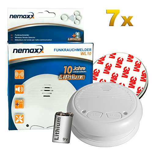 7x Nemaxx WL10 Funkrauchmelder - mit 10 Jahre Lithium Batterie Rauchmelder Feuermelder Set Funk koppelbar vernetzt - nach DIN EN 14604 + 7x Magnethalterung