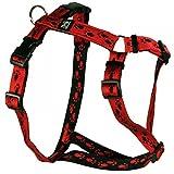 Feltmann Hundegeschirr - Soft-Nylonband rot mit schwarzen Pfötchen, Bauchumfang 50-65 cm, 20 mm Bandbreite