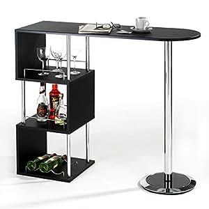 bartisch stehtisch bartresen vigando schwarz mit stauraum und flaschenhalterung verchromte. Black Bedroom Furniture Sets. Home Design Ideas