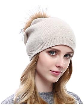 VEMOLLA Cappello Cristallo Invernale Berretto lavorato a maglia di lana per le donne con pon pon staccabile in...
