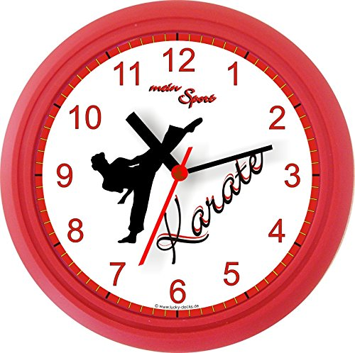 Lucky Clocks KAMPFSPORT ERWACHSENE UND KINDER Wanduhr für kampfsportbegeisterte Sportler für jeden Anlass mit jeder Beschriftung und jedem Vornamen Namen erhältlich auch ganz neutral