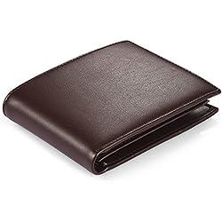 Vbiger Carteras Negro Anti-robo RFID de Auténtica Piel (marrón)