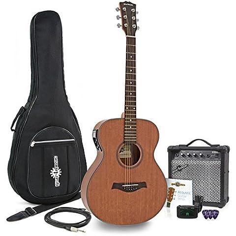 Guitarra Folk Electroacústica Deluxe + Pack con Ampli de 15W - Caoba