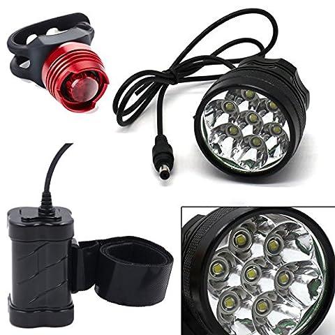 CDC® Super Brillant Cree 7 LED XM-L T6 étanche 10000 lumen VTT Vélo Cyclisme Head Light Lampe frontale rechargeable 4 x 18650 batterie 7200mAh + EU Chargeur