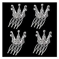 HerZii Small Girls Crown Tiara Hair Combs Clear Stone Crystal Mini Tiara Hair Accessories Jewelry(4 PCS)