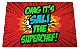 'OMG It's Sali The Superchef!', Personalised Name, Funny Comic Art Style Design, Toughened Glass Cutting Board, Great Quality, Size 390mm x 285mm x 4mm approximately