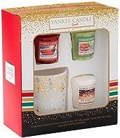 Yankee Candle 3 Votive and 1 Votive Holder Christmas Holiday Giftset