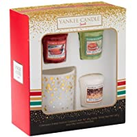 Yankee Candle 3 Votive and 1 Votive Holder Christmas Holiday Giftset