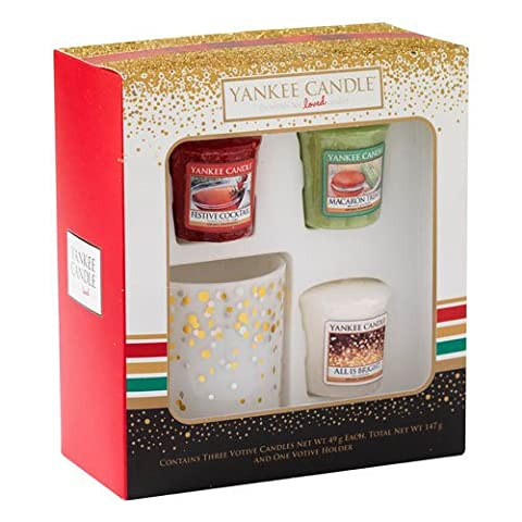 Yankee Candle 3 Votive and 1 Votive Holder Holiday Party Gift Set