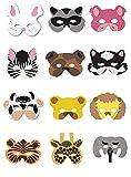 Hacoly 12 Stück Kinder Halloween Tiere Cosplay Masken Maske mit Tiermotiv Junge Mädchen Karneval Gesichtsmasken Zebra Schwein Hunde Katzen Giraffe Löwe Elefanten Bär Häschen Tiger Kühe Waschbär