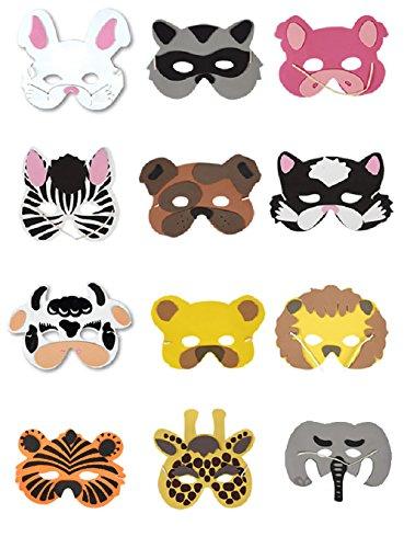 Hacoly 12 Stück Kinder Halloween Tiere Cosplay Masken Maske mit Tiermotiv Junge Mädchen Karneval Gesichtsmasken Zebra Schwein Hunde Katzen Giraffe Löwe Elefanten Bär Häschen Tiger Kühe Waschbär (Waschbär Maske)