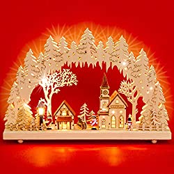 Sikora LB52 illuminated LED wood candle arch WINTERDORF including transformer