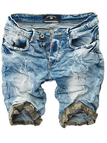 Baumwolle Crinkle-shorts (L.A.B 1928 Herren Jeans Shorts 6572 Blau W29)