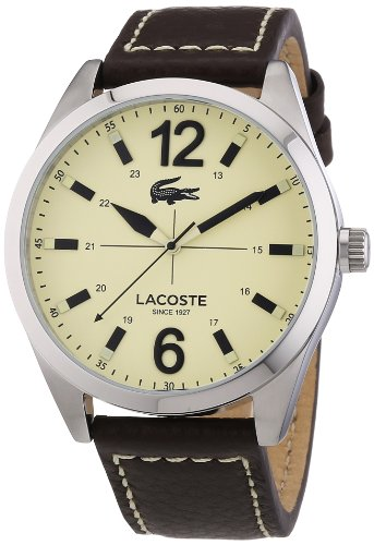 Lacoste Men's Quartz Watch with White Dial Analogue Display and Brown Leather Strap 2010696