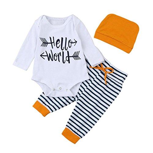 Hüte Top (Babymode Hirolan Baby Mädchen Spielanzug Weiß Tops Gestreift Hose Orange Hüte Weich strampler Outfit günstige babykleidung Kleider Set Beschriftung'Helllo World' (90cm,)