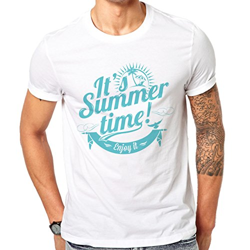 It's Summer Time Enjoy It Blue Edition Summer Mood Herren T-Shirt Weiß