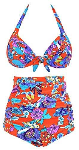 c00cffb7908209 ebuddy Fashion High Waist Women's Vintage Bikini Swimsuit Swimwear - Orange  -