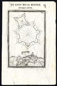 ThePrintsCollector Motif Antique 58–Plaque militaire de l'ingénierie Estremoz-Fort-Portugal-Maillet - 1684