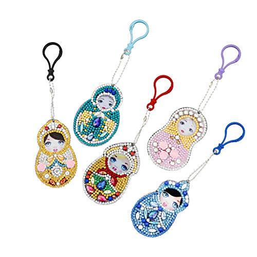 ToDIDAF DIY Cartoon Keyrings / Keychain, 5D Vollbohrer Diamant Malerei Kreuzstich, Strass eingefügt Stickerei Gemälde, 6 X 7 cm (5 Stücke, Puppe Mädchen)