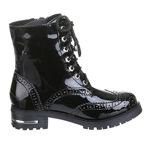 Damen Schuhe, LAURA, BOOTS Schwarz Silber LOLITA
