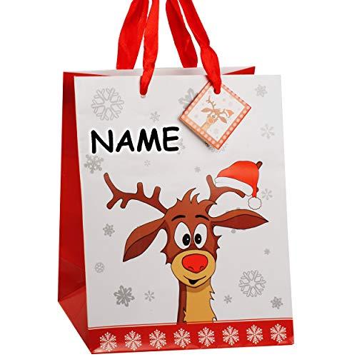 Preisvergleich Produktbild alles-meine.de GmbH 1 Stück _ kleine - Geschenktasche / Geschenkbeutel - Didi Das kleine Rentier - incl. Name _ Klein - 23 cm ! _ Geschenktüte - Weihnachtstüten - A5 - Tasche..