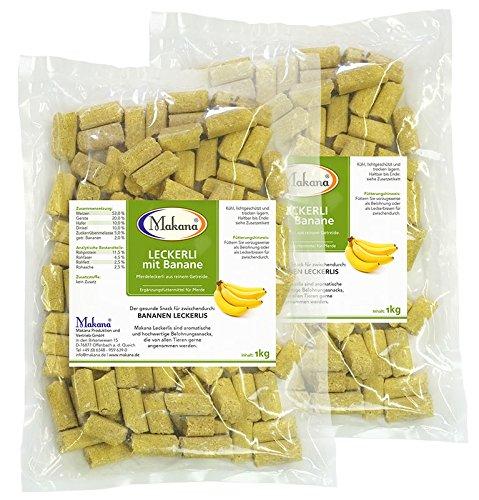 Makana Banane Leckerlie Snack für Pferde, 2 x 1000 g Beutel (2 x 1 kg) - 2.0 Banane