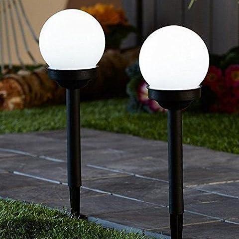 Lot de 2solaire Globe Boule lumière ronde LED Blanc éclairage