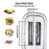 Homeleader Toaster mit 2 Brotscheiben, Edelstahl Doppelschlitz-Toaster mit 7 Bräunungsstufen, abnehmbarer Krümelschublade, 700W, Silver - 3