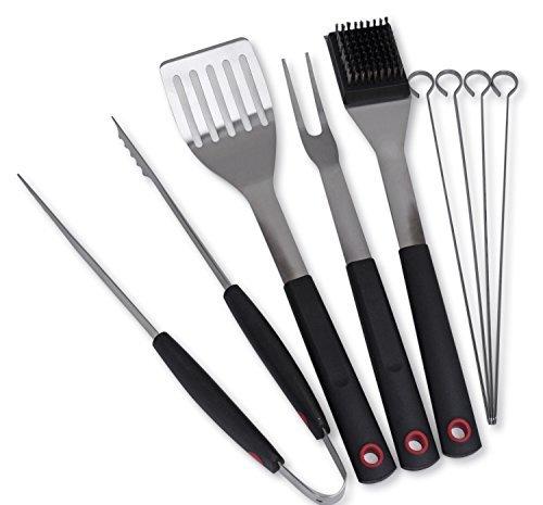 Juego de utensilios para barbacoa o para asar Culina® 8 unidades. De acero inoxidable. Asa de tacto suave.