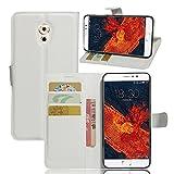 Tasche für Meizu Pro 6 Plus Hülle, Ycloud PU Ledertasche Flip Cover Wallet Case Handyhülle mit Stand Function Credit Card Slots Bookstyle Purse Design weiß