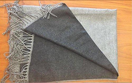 HSDMF grande sciarpa scialle moda donna in cashmere monocromo Scialle a sezione lunga con frange a doppia faccia Versione più spessa della sciarpa , red gray