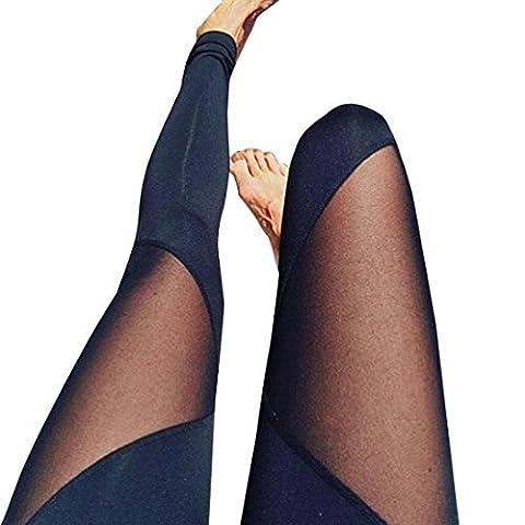 TWIFER Frauen hohe Taille Skinny Leggings Patchwork Mesh Push Up Yoga Hosen (B-Schwarz, XL)