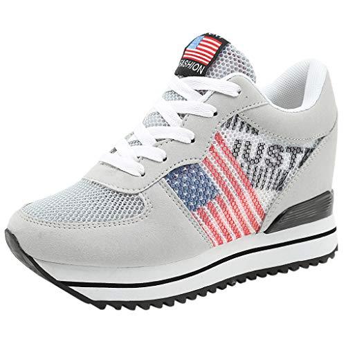d3698a7fb9d9e0 Lazzboy Damen USA Flagge Plateauschuhe Wedges Loafers Sneakers  Turnschuhe(Grau A