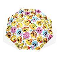 Jeansame Emoji Cheer Beer Kids Folding Umbrella Manual Sun Rain Umbrella Compact Umbrellas for Women Men Kid Boy Girl